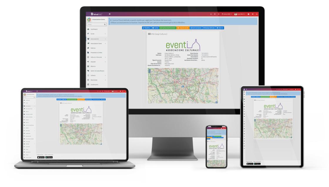 Software gestione Associazione eventi