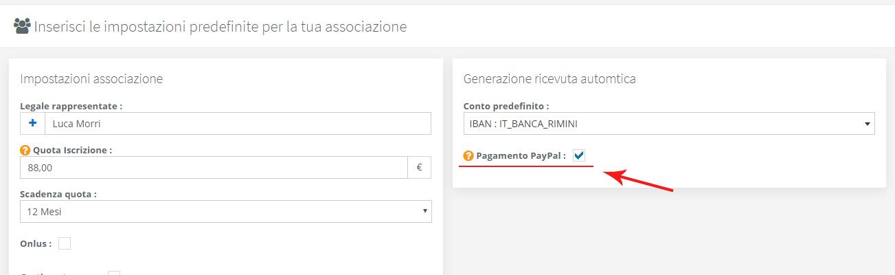 Associazione - Abilitazione pagamento PayPal