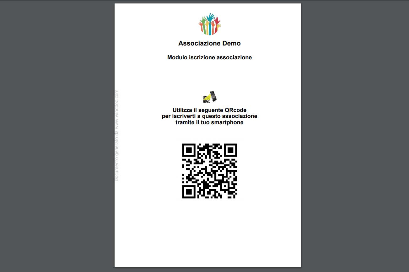 Associazione - QRCode Form iscrizione socio