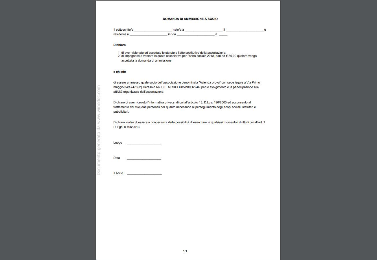 Associazione - domanda ammissione socio
