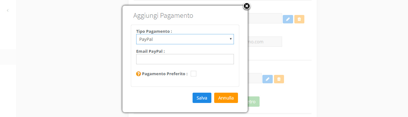 Associazione - Metodi di pagamento PayPal
