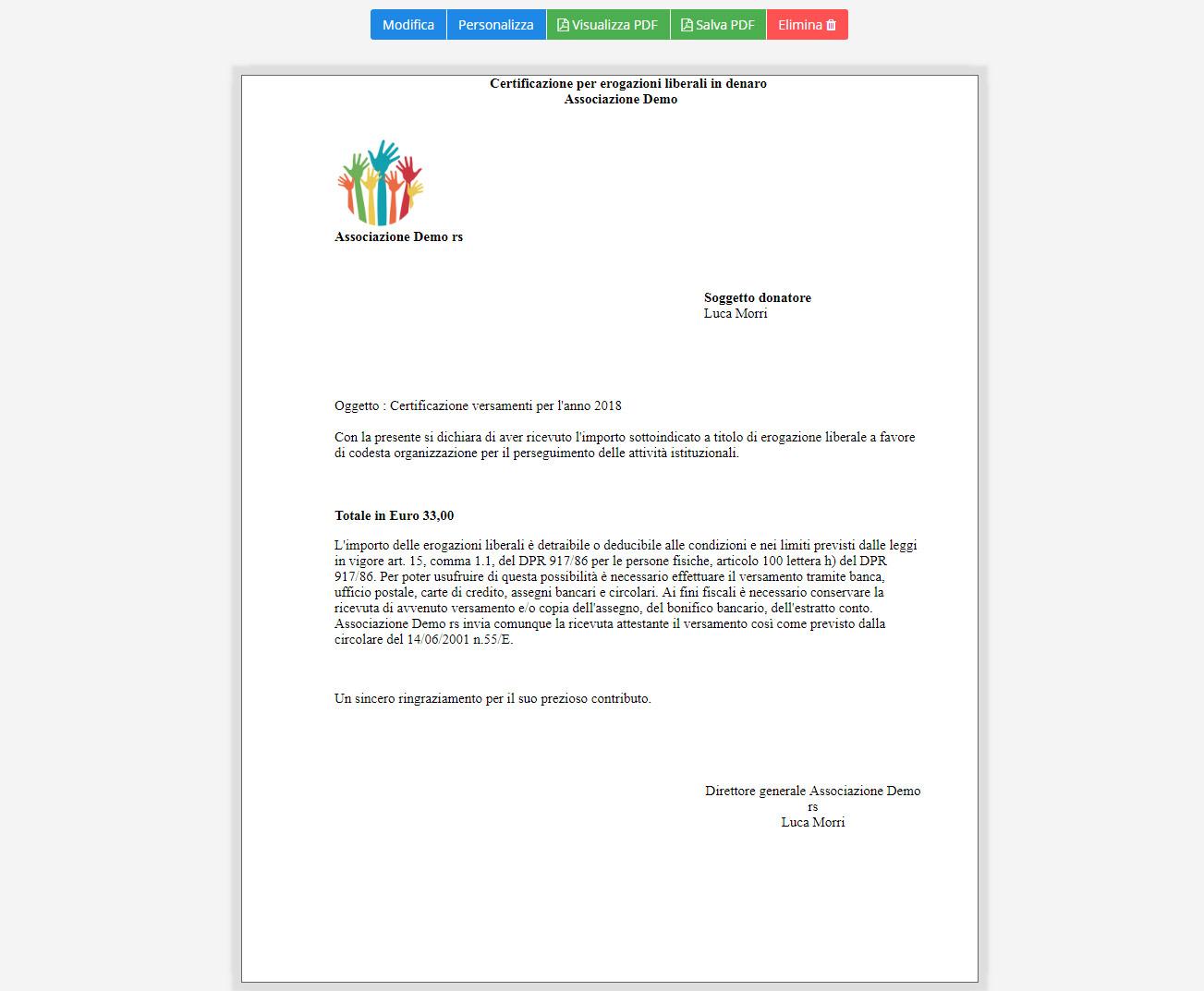 Associazione - Dettaglio certificazioni