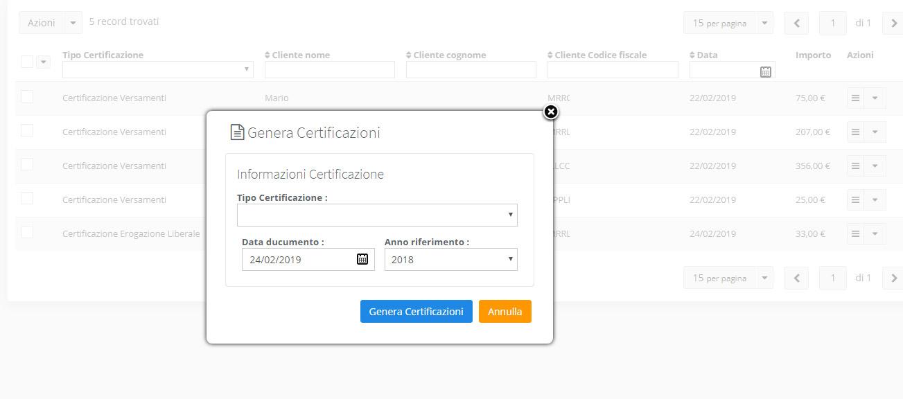 Associazione - Genera certificazioni